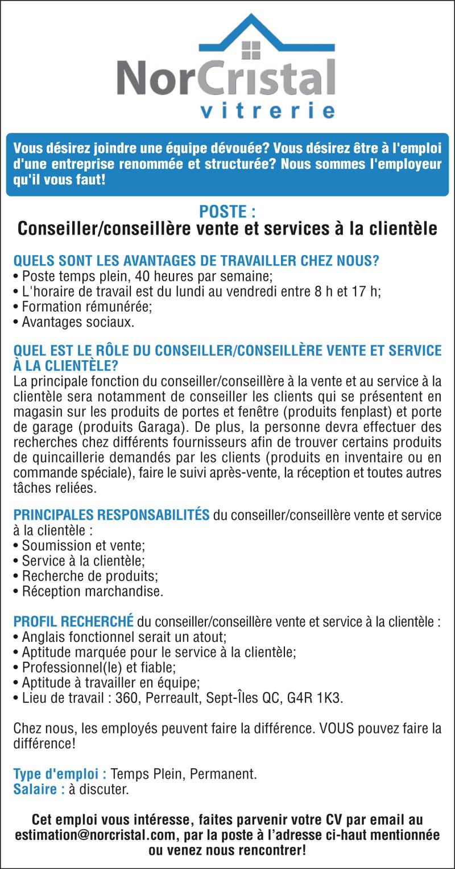 Conseiller/conseillère vente et services à la clientèle
