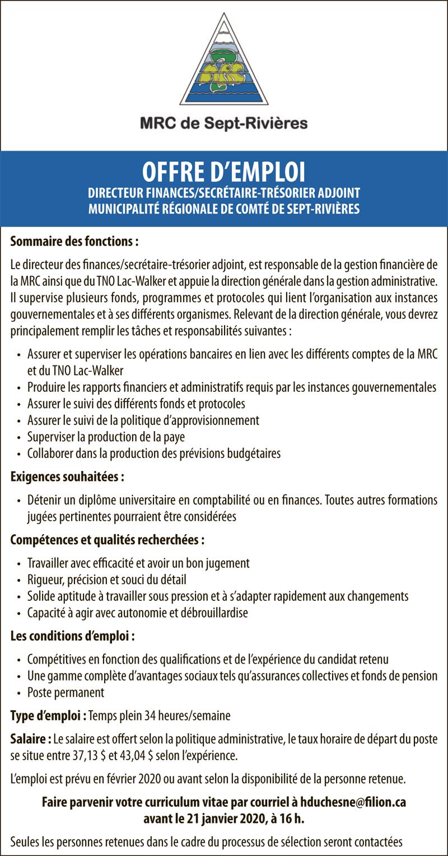 Directeur finances/Secrétaire-trésorier adjoint